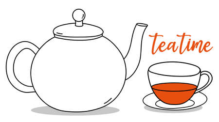 Teapot, Cup and inscription Tea Time. Vector illustration. Black outline on a white background. Hand-drawn.