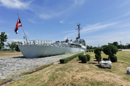 The battleship in the garden and blue sky photo