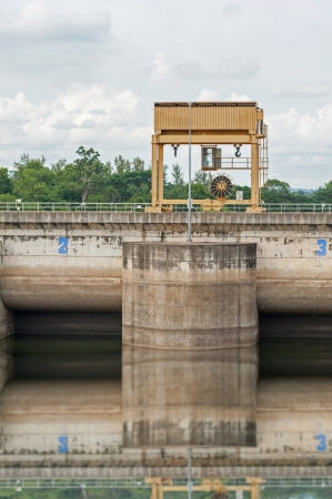duke: The dam construction and yellow  Stock Photo