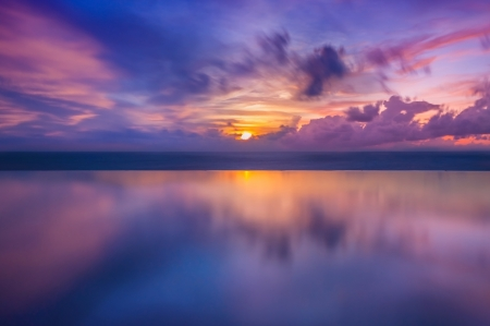 red sunset: Sunset in the sea in Thailand Stock Photo