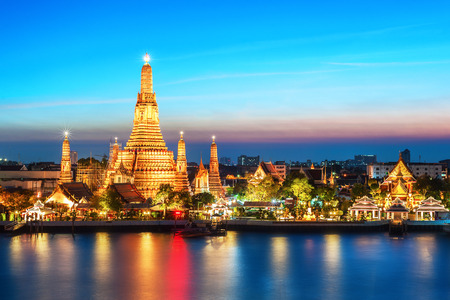 Wat Arun nacht weergave tempel in Bangkok, Thailand Stockfoto