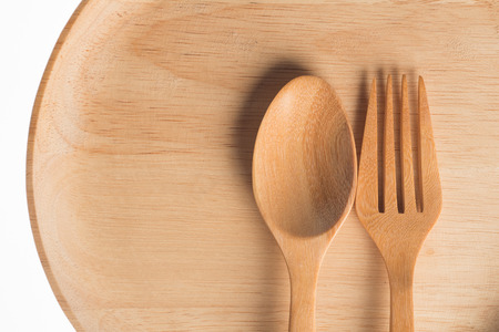 Wooden dish with white background