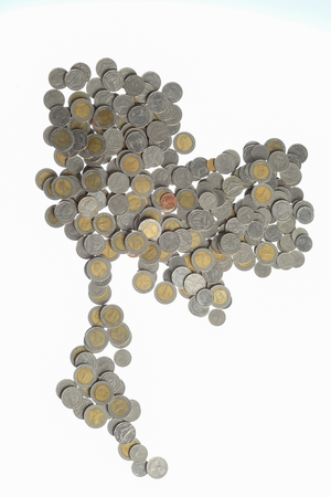 silver coins: Silver coins of Thailand and white background Stock Photo