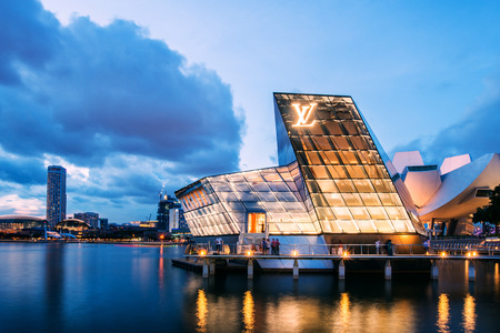 The futuristic building of Louis Vuitton shop in Marina Bay, Singapore Editorial