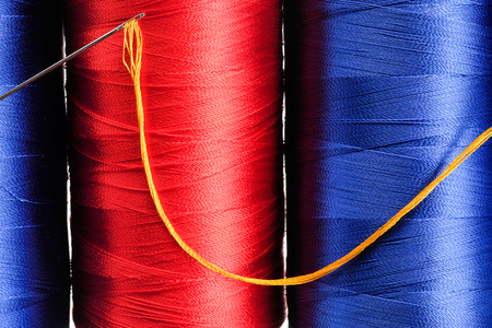 sewing needle: Colorful thread and needle