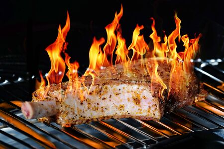 meat grill: Fried meat on the grill Stock Photo