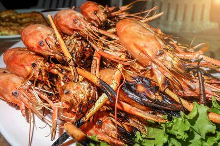 rosmarin: Grilled Shrimp Stock Photo