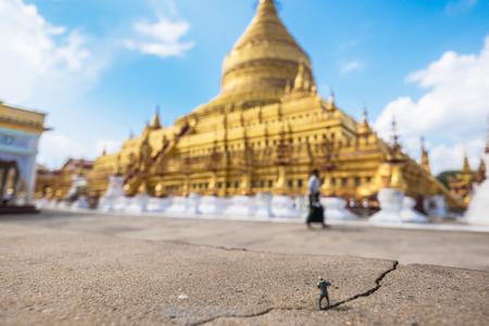 stu: Photographer in Shwezigon Pagoda at Myanmar Stock Photo