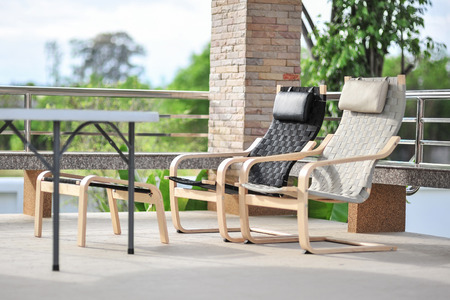 seating area: Outdoor seating area with Rattan sofa Stock Photo