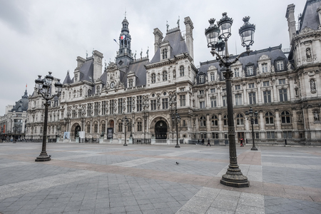 ville: 15 MARCH 2015 : Wonderful front view of Hotel de Ville at Paris in 15 March 2015 Editorial