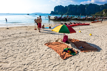 exceptionally: 20 JAN 2015 : people on the beach in Thailand, Asia. Karbi Island in Thailand- blue sky and with silky soft white sand, and exceptionally clear water at 20 JAN 2015