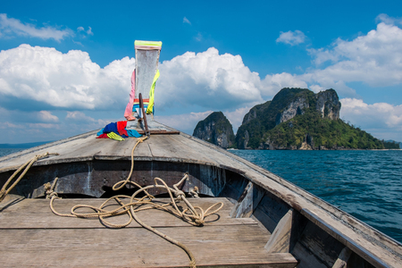 dive trip: Front View Long tail boat at Krabi Islands sea Asia Thailand
