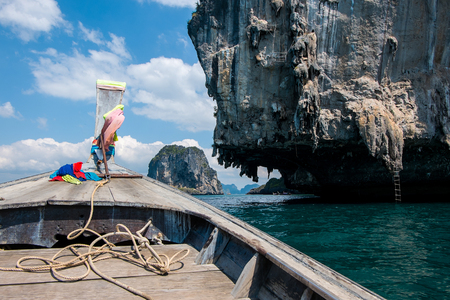 Front View Long tail boat at Krabi Islands sea Asia Thailand