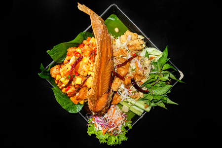 Thai Food,Fried fish with spicy toppings.