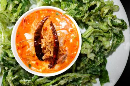 Yum Woon Sen, spicy vermicelli salad in black background