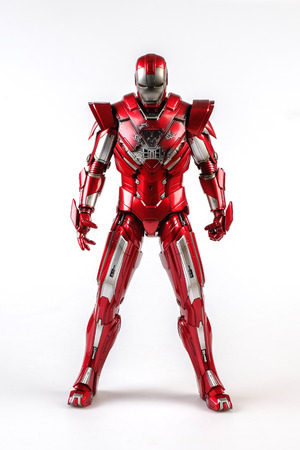 Khonkaen,Thailand - June 13th 2015: Irons MARK XXXIII man figure 1/6 standing gracefully. Iron man is a popular line of construction toys manufactured by the Hottoy Group. Editorial