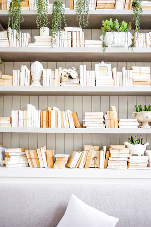 books library: Vintage reading room with old books
