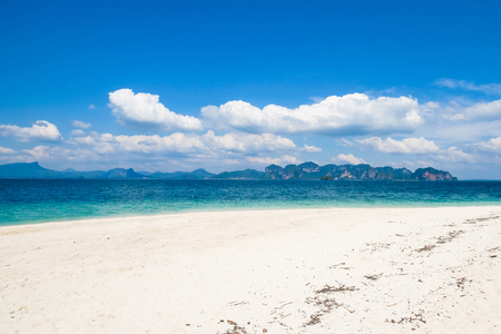 exceptionally: Asia. Po-da Island in Thailand- blue sky and with silky soft white sand, and exceptionally clear water