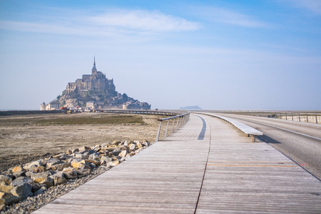 michel: The walk way to Mont saint michel in France Stock Photo