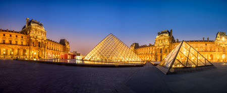 louvre pyramid: PARIS, FRANCE- March 21: The large glass pyramid and the main courtyard of the Louvre Museum on march 21, 2015. The Louvre Museum is one of the largest museums of the world