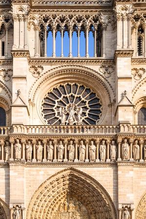 Paris, France - famous Notre Dame cathedral facade saint statues.