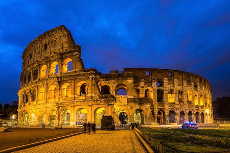 Colosseum, Rome, Italy. Twilight view of Colosseo in Rome