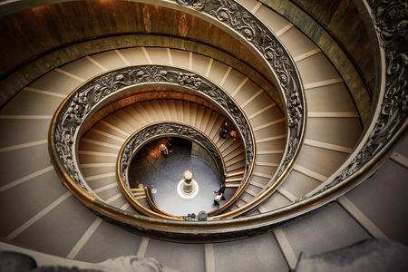VATICAN - MARCH 24 : Spiral stairs of the Vatican Museums in Vatican on MARCH 24, 2015 in Rome, Italy.
