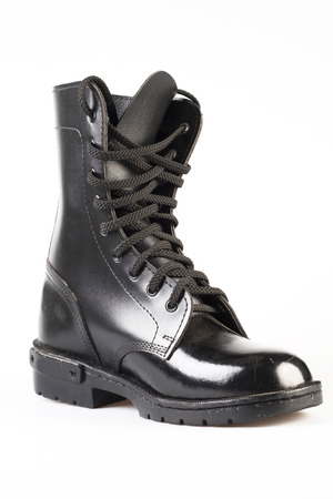 army boots: Black Leather Army Boots on white background Stock Photo