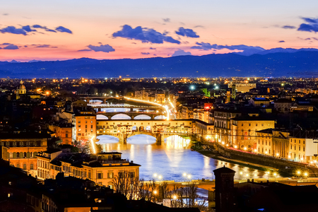 ponte: Florence, Ponte Vecchio Scenics night view Stock Photo
