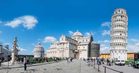 PISA, ITALY - MARCH 27: Exterior views of the famous buildings of Pisa at the Square of Miracles on March 27, 2015