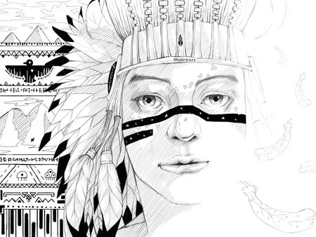 Digital paint portrait of american indian head Stock Photo