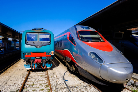 france station: High speed bullet train in the railway station