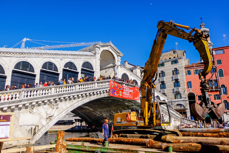 29 MARCH 2015 : construction site by the sea for the repair of a bridge in venice,Italy in 29 March 2015 Editorial