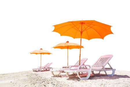Empty orange beach chair isolated over white background