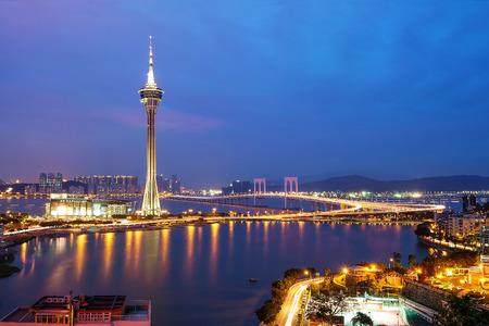 Night view of Macau Tower in Twilight Time Reklamní fotografie - 70527523