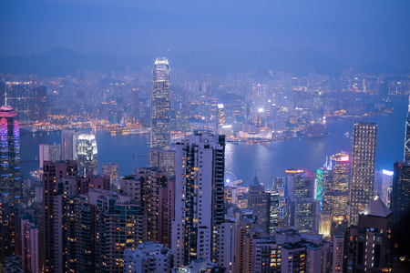 HongKong cityscape at night , Hong kong city.