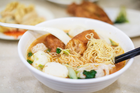 Noodle and dumpling close up in Hong Kong