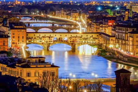 Florence, Ponte Vecchio Scenics night view Stock Photo