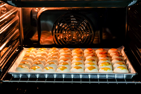 Chinese moon cakes are baked in the oven.
