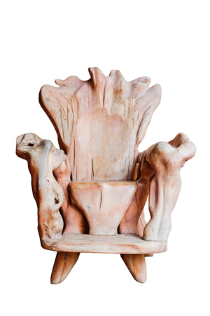 worn: Old Big wooden Chair for the King on white isolate with clipping path Stock Photo