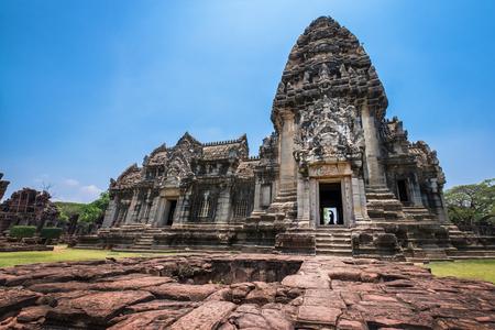 Front view of Prasat Hin Rock castle in Phimai Historical Park Nakonratchasima Stock Photo
