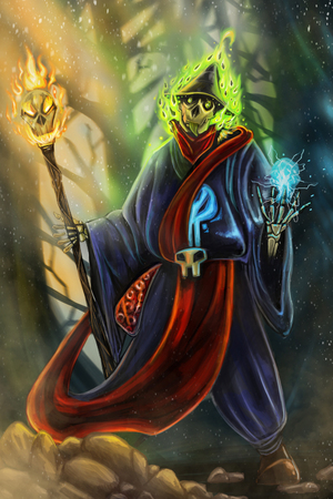 Digitalpainting Necromancer Wizard Charecter create Stock Photo