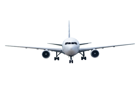 Front of real plane aircraft, isolated on white background