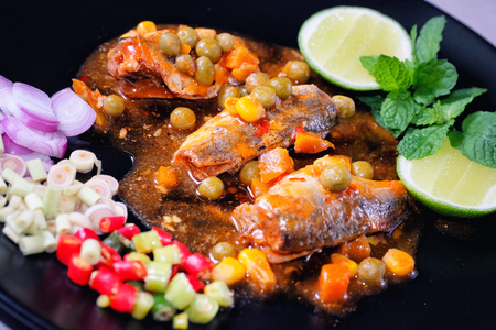 sardine can: Spicy Canned Sardine Salad (Yum Pla Ka-Pong)