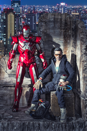 plastic soldier: KHONKAEN - DECEMBER 1, 2016 : Marvel Iron Man - Tony Stark action figures, produced by Hot Toys,  on display in Khon Kaen, Thailand December 1, 2016. Iron man is a very popular Marvel hero.