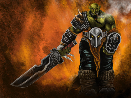 Orc warrior smoking and holding a sword on fire background