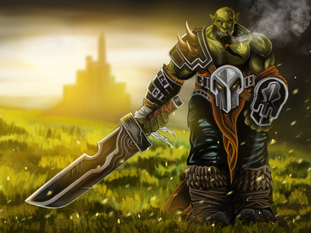 mockery: Orc warrior smoking and holding a sword on grass filed and castle background