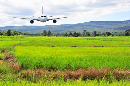 airborne: Airplane frying over the green rice flied Mountain background