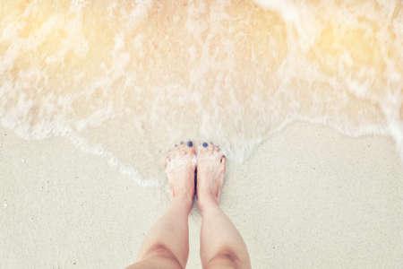Wave sea and sand Stock Photo