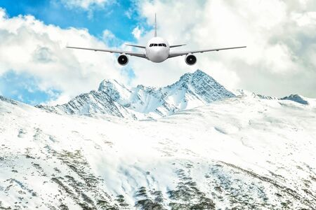 jetliner: Airplane frying over the Snow Mountain background